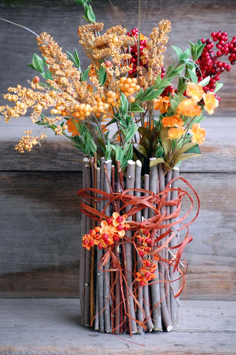 Fall Twig Container Vase