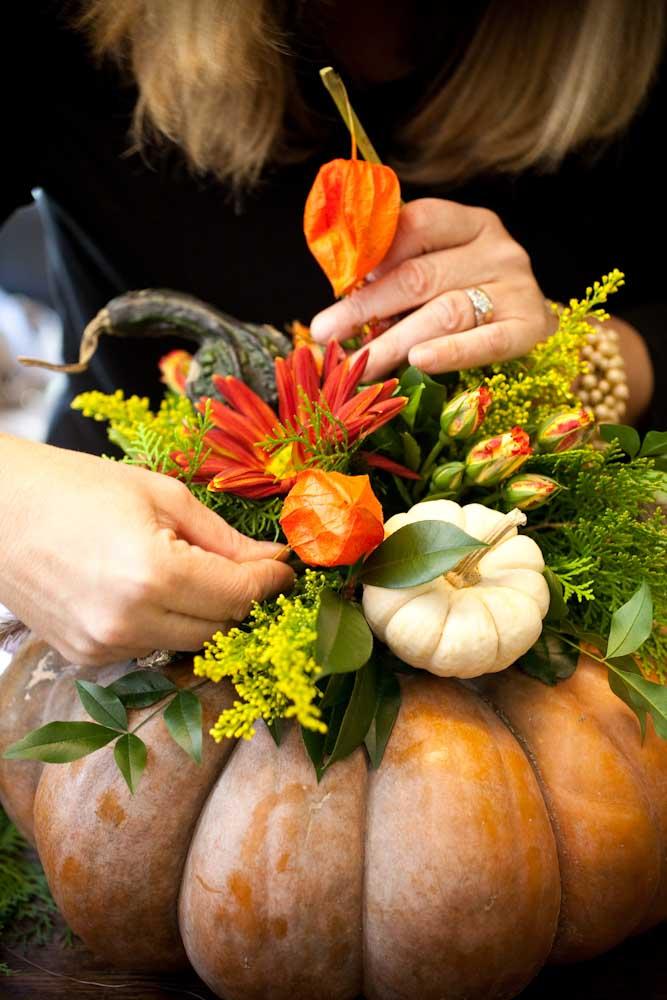 Floral Pumpkin Centerpiece by Holly Heider Chapple