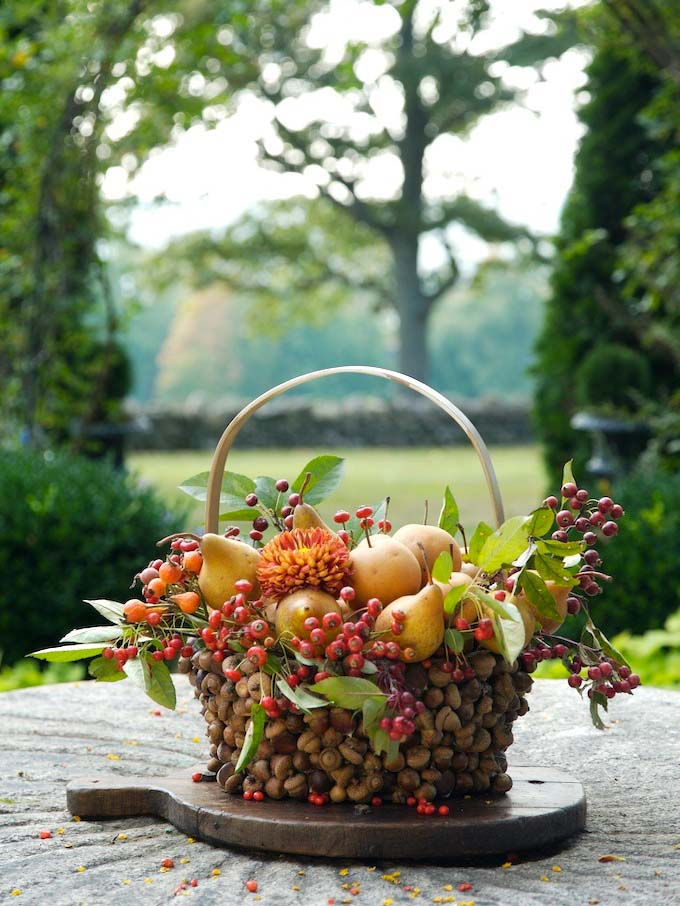 Fruits in Rustic Acorn Basket