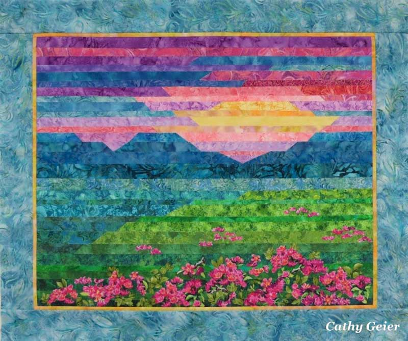 Cathy Geier - Pink Azaleas Strip Applique Landscape