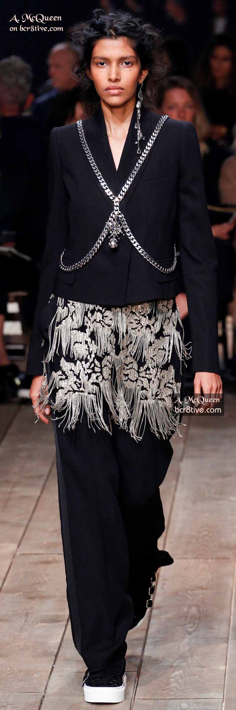 Alexander McQueen Suit with Metallic-Chain Embellished Tunic and Body Chain