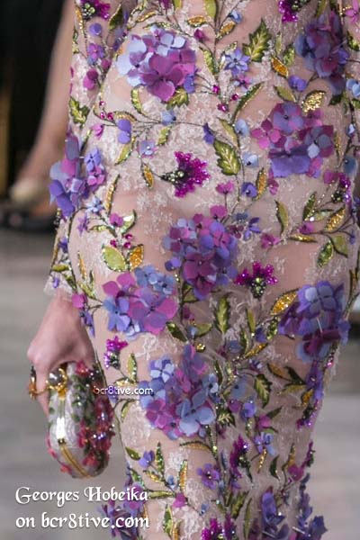 Botanical Embroidery with 3D Appliques - Georges Hobeika Fall 2016 Haute Couture Details