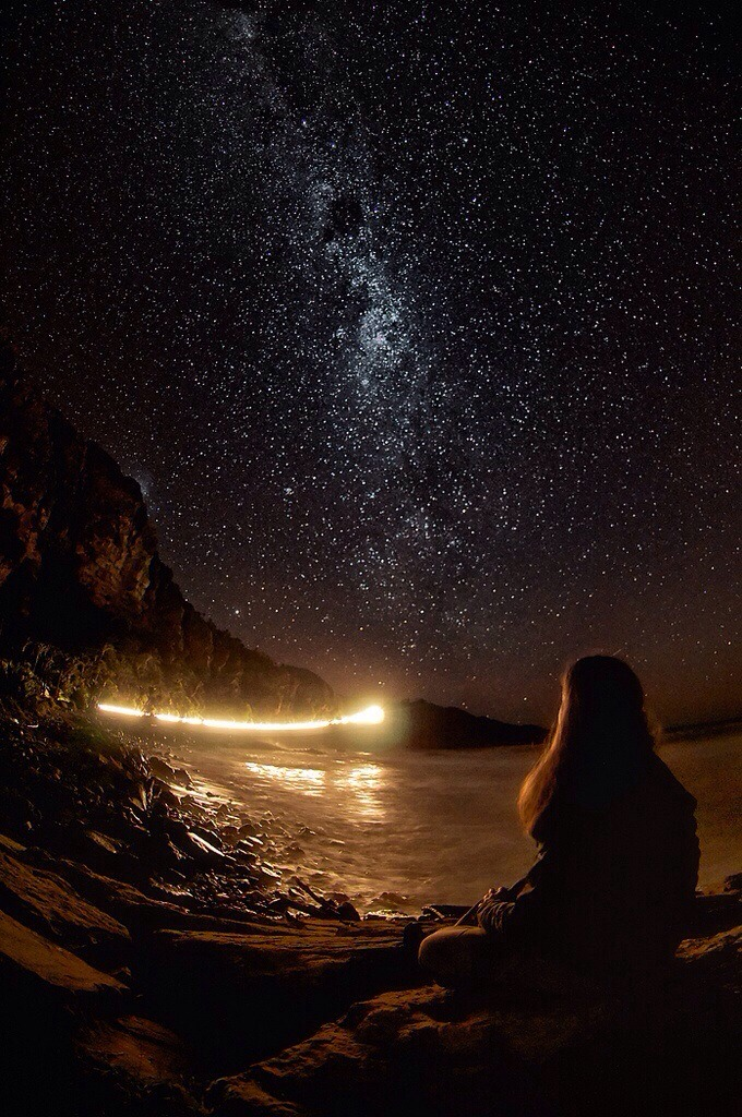 Starry Night - Girl by the Stars starry via Stargazer