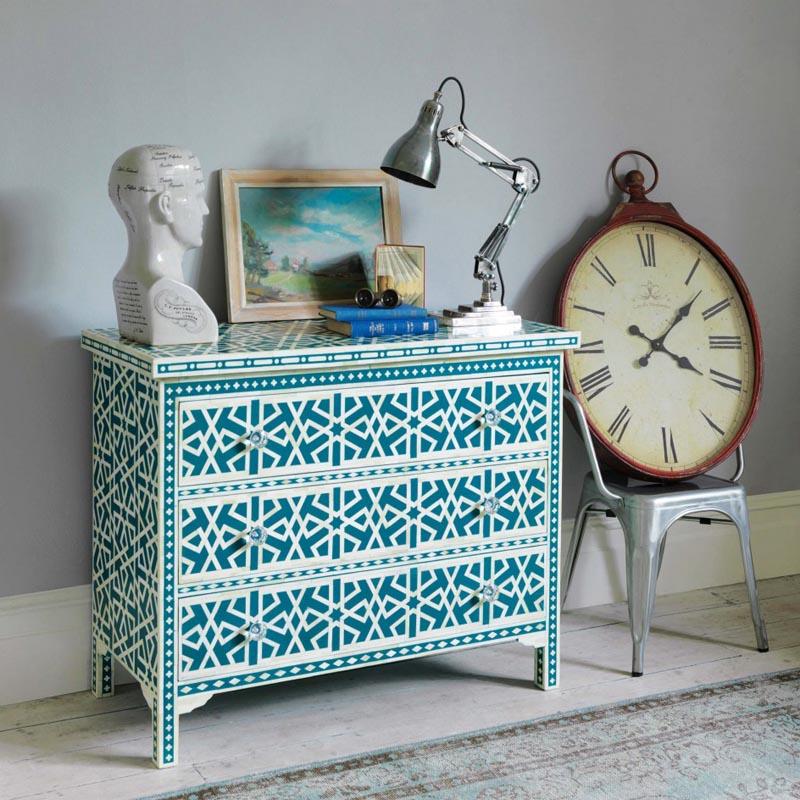 Graham & Green Bone Inlay Furniture in Peacock Blue