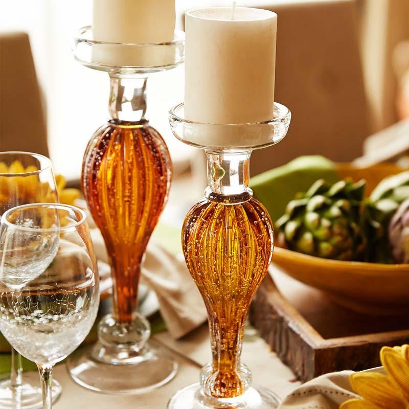 Amber Textured Glass Pillar Stands