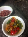 Prepare ahead turkey bacon and peppers with onion